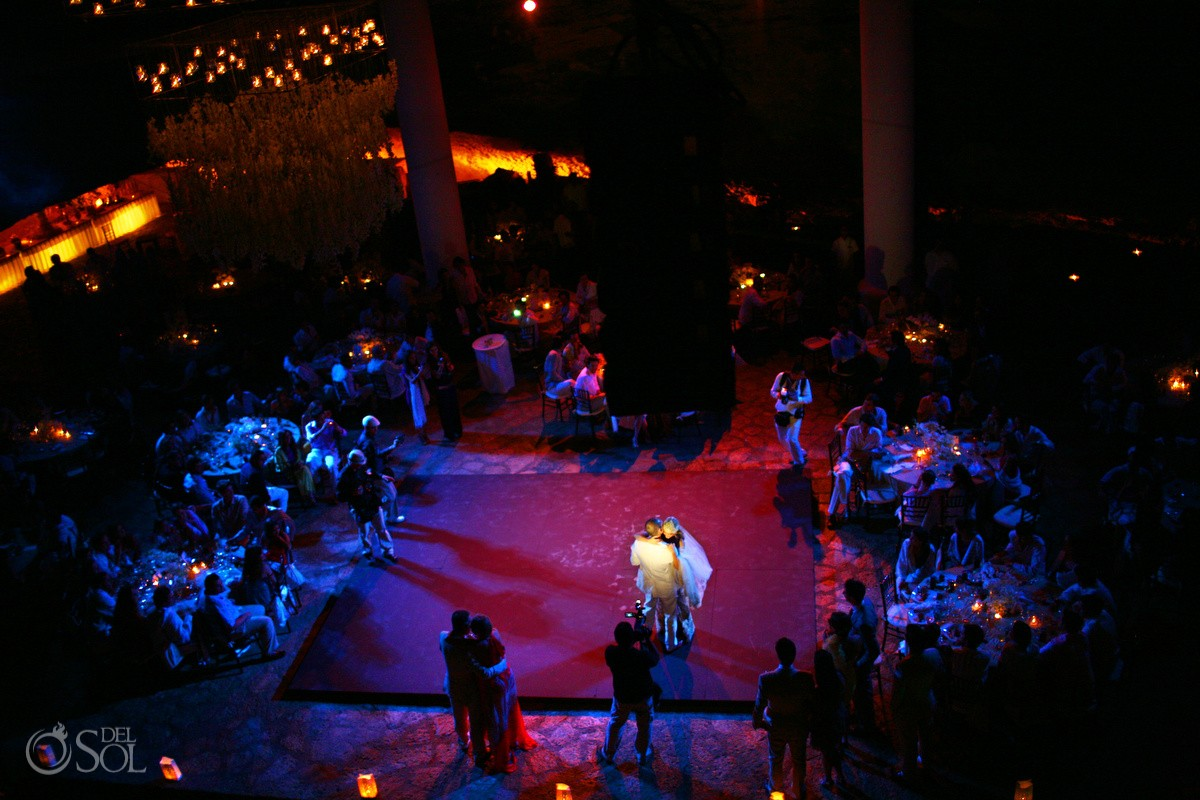 Dance floor at their wedding reception at La Isla restaurant in Xcaret Park, Riviera Maya, Mexico