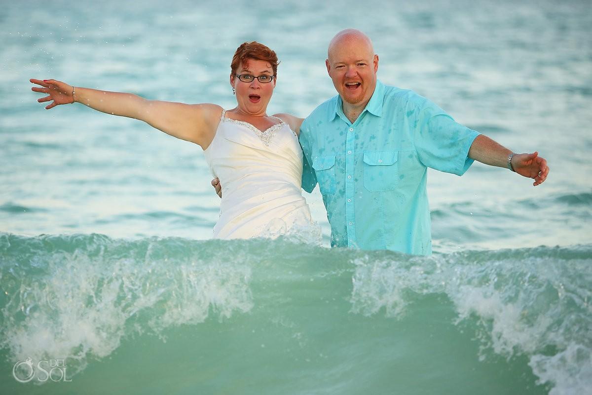 Riviera Maya beach ocean trash the dress Mexico
