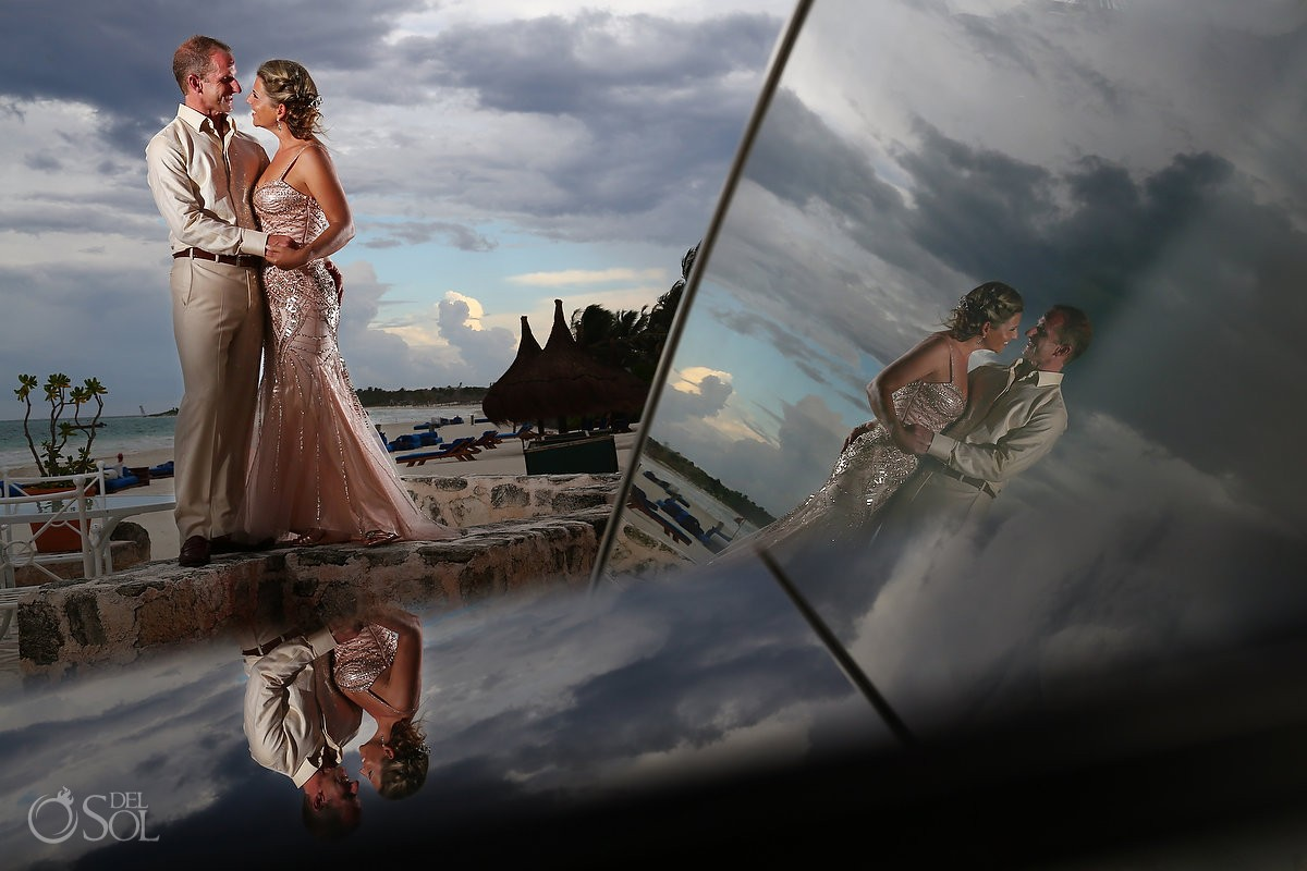 Destination wedding photographs of bride and groom at Belmond Maroma Resort