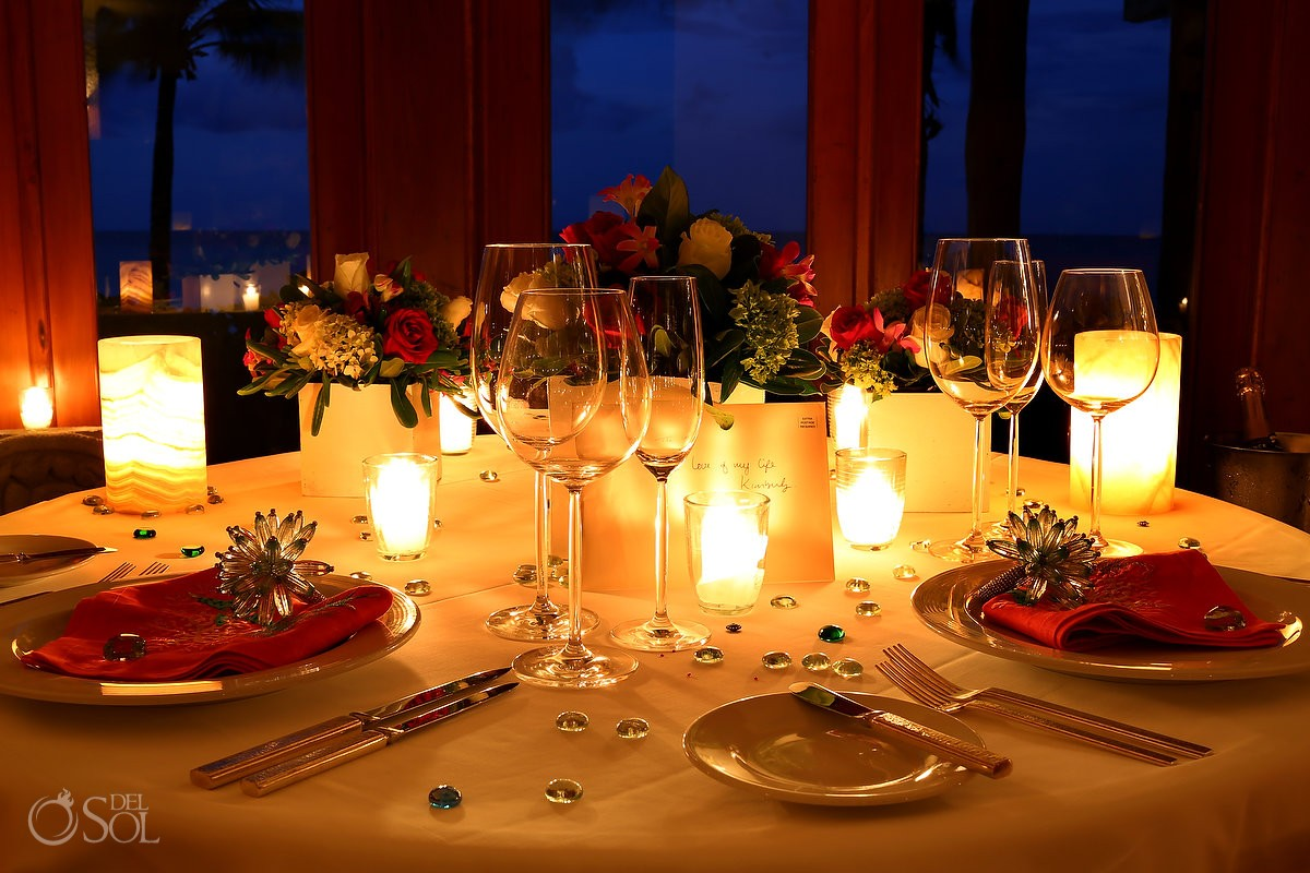 Destination wedding photograph of dinner reception tables at Belmond Maroma Resort