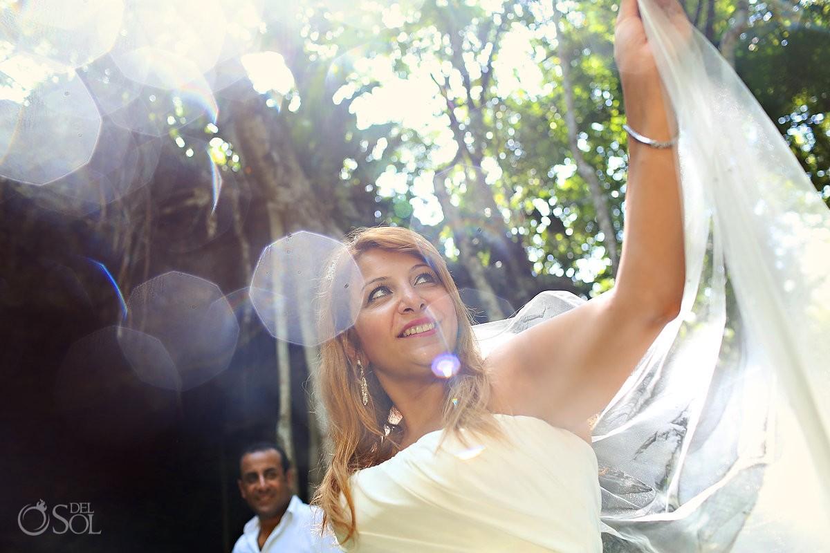 Riviera Maya cenote trash the dress Mexico