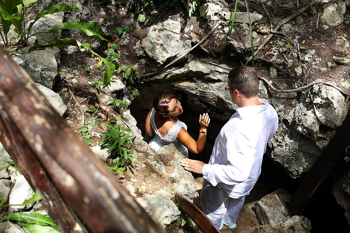 Riviera Maya trash the dress cave Mexico
