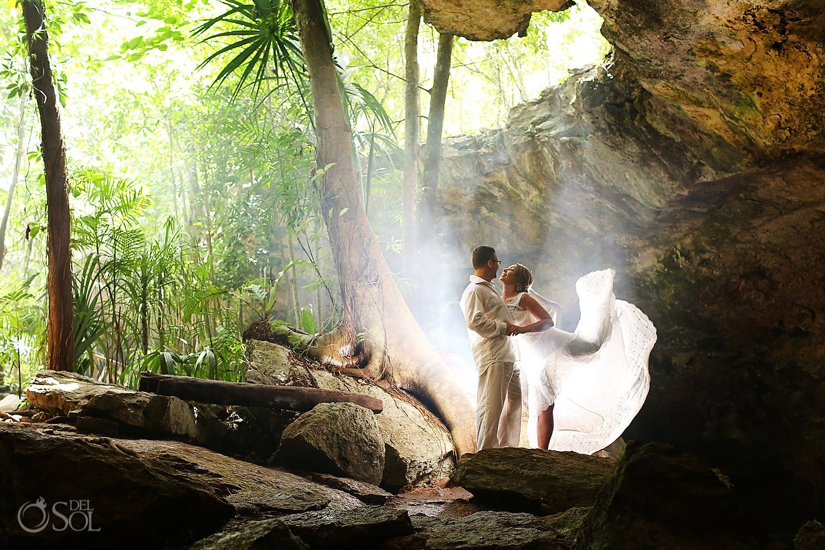 Riviera Maya trash the dress cave cenote Mexico