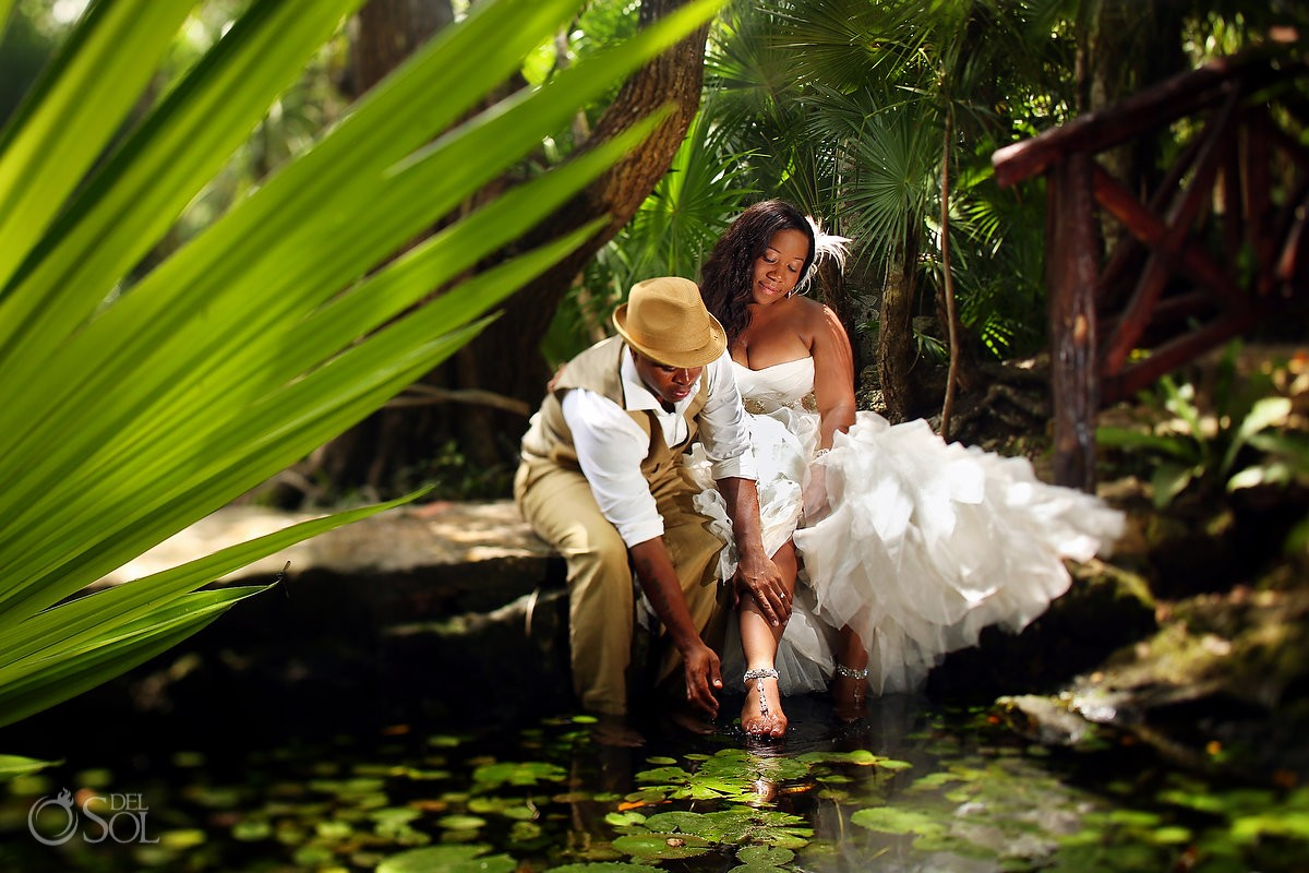 Riviera Maya trash the dress cenote Mexico