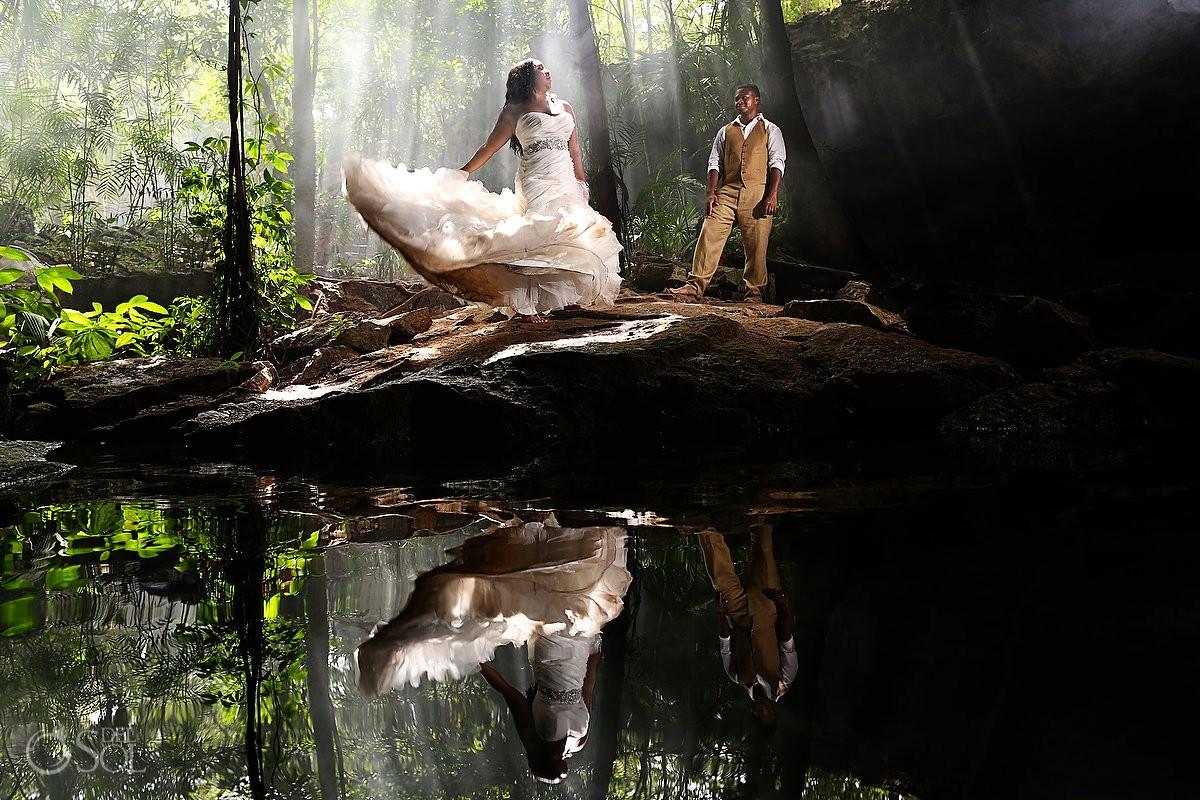 Riviera Maya trash the dress cenote Mexico