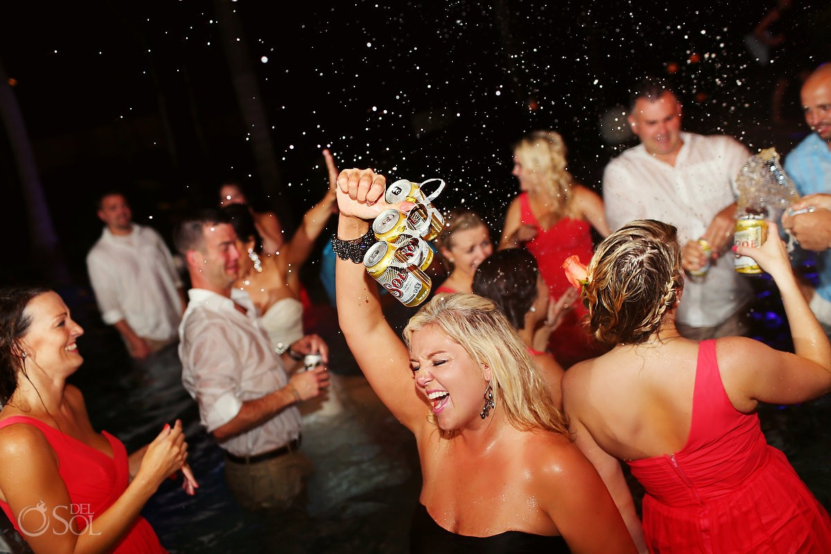 Wedding Reception beer six pack sol lager pool Grand Velas