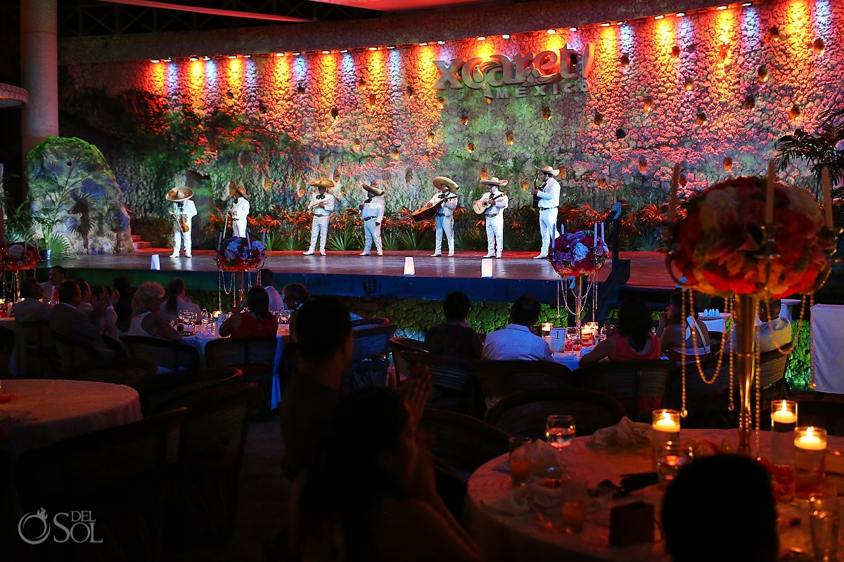 Mariachi performer as entertainment at a wedding reception at La Isla restaurant in Xcaret Park, Riviera Maya, Mexico