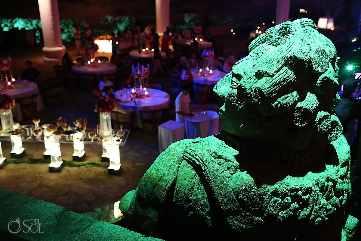 wedding reception at La Isla restaurant in Xcaret Park, Riviera Maya, Mexico