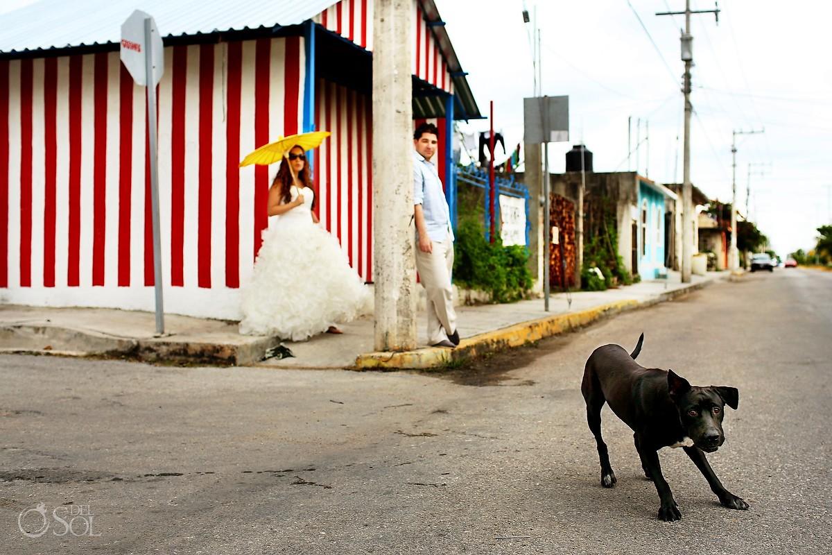 Playa del Carmen trash the dress photography. Mexico wedding photographers Del Sol Photography