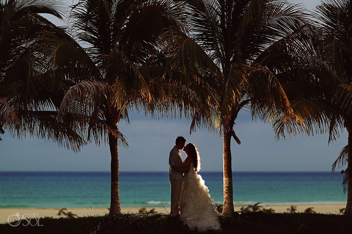 Playa del Carmen beach trash the dress. Mexico wedding photographers Del Sol Photography