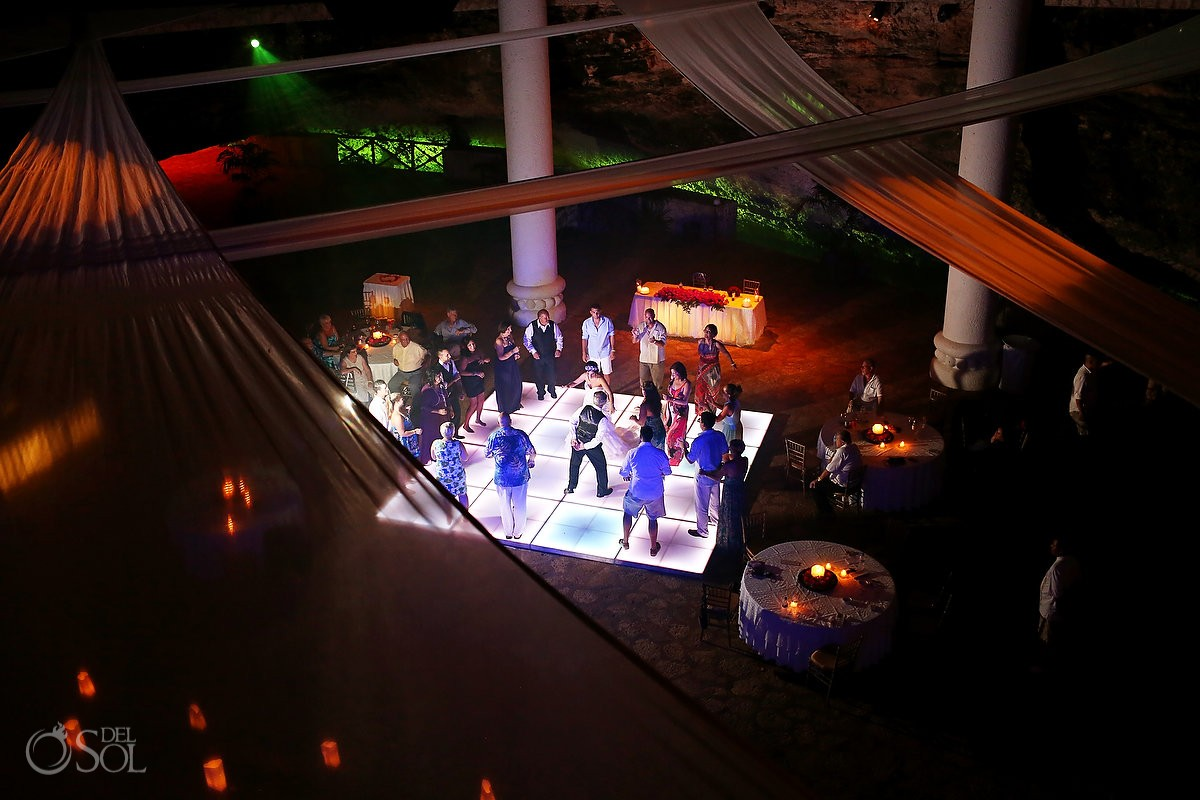dancefloor at their wedding reception at La Isla restaurant in Xcaret Park, Riviera Maya, Mexico