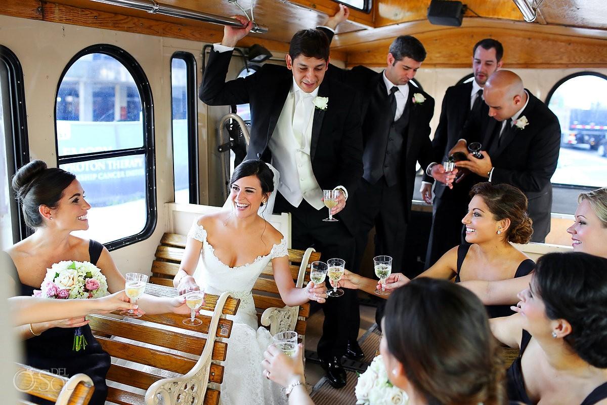 Wedding Atlanta streetcar bridal party Del Sol Photography