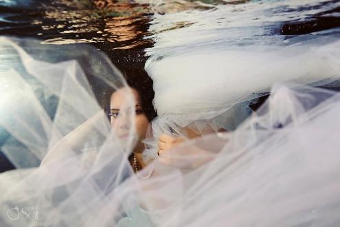 Trash the dress underwater cenote Riviera Maya Del Sol Photography