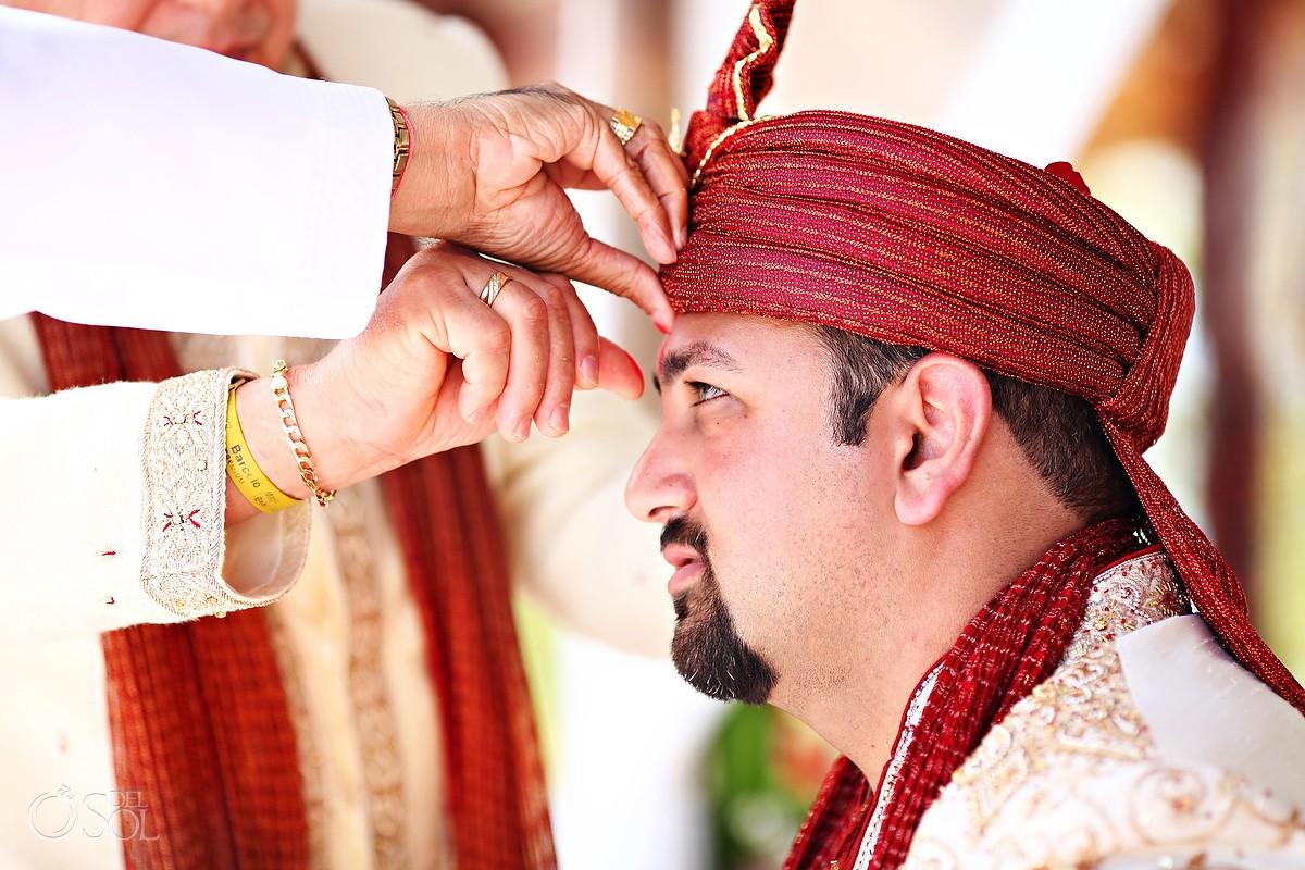 Riviera Maya Hindu Wedding groom Barcelo Maya Mexico