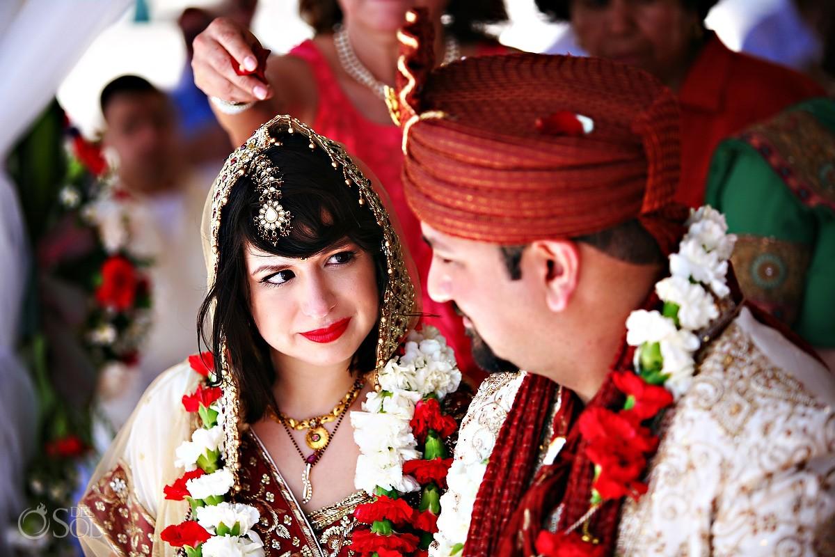 Riviera Maya Hindu Wedding bride and groom Barcelo Maya Mexico