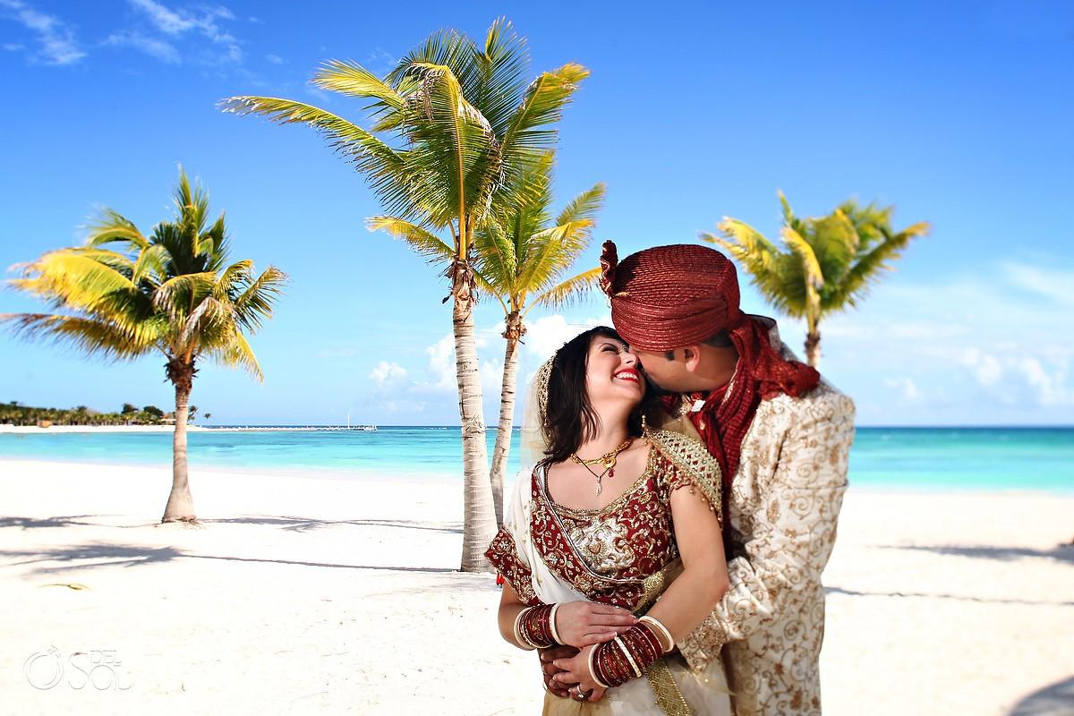Riviera Maya Hindu Wedding couple on the beach Barcelo Maya Mexico #Aworldofitsown