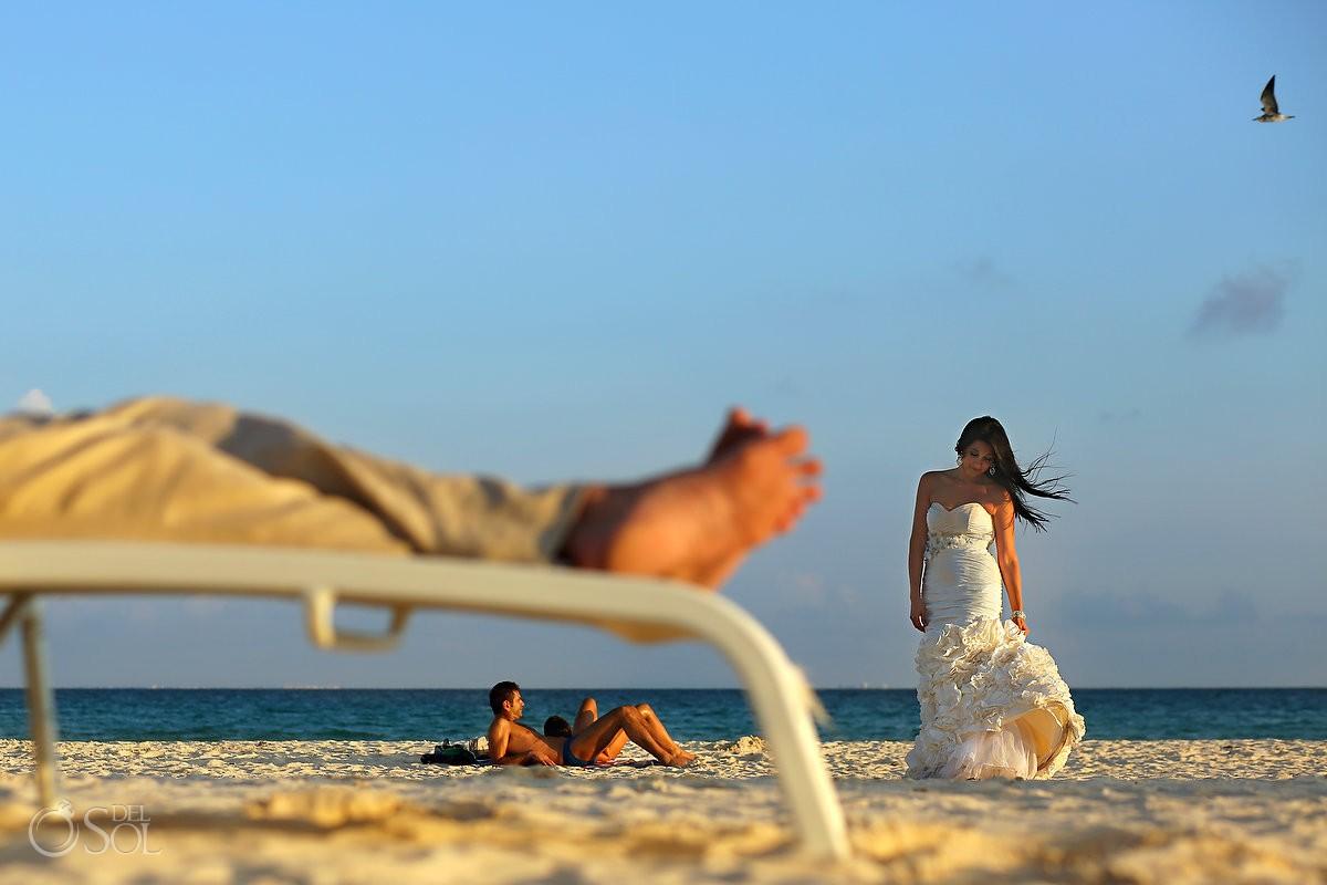 Playa del Carmen beach trash the dress Mexico Del Sol Photography