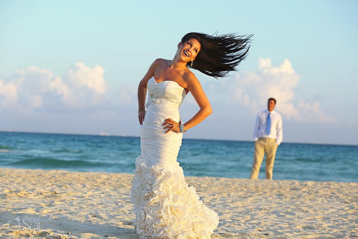 Playa del Carmen beach trash the dress Del Sol Photography