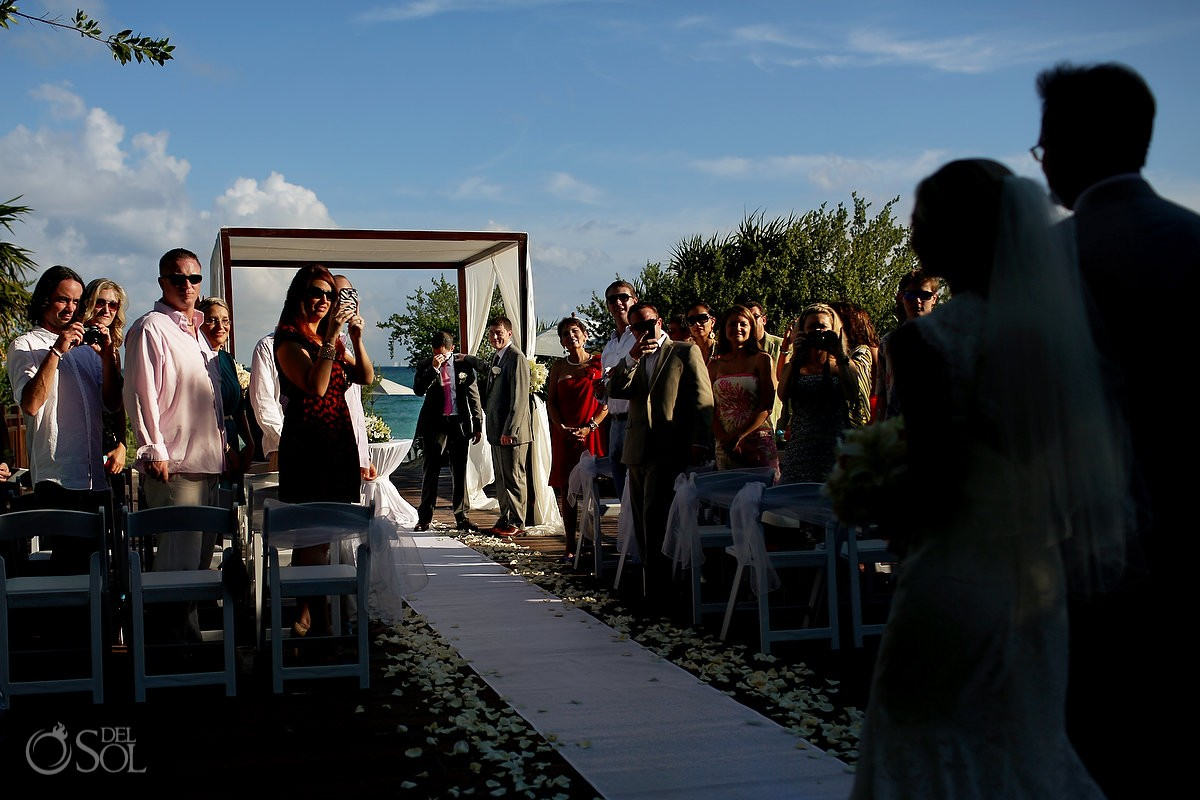 bride and groom walk the aisle Wedding at Paradisus La Esmeralda