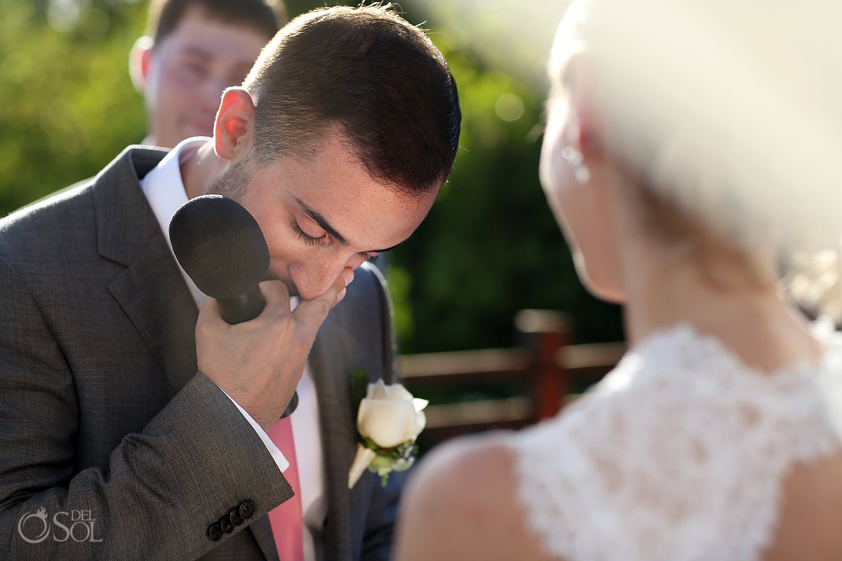 Groom Crying Gabi Bridge Destination wedding ceremony Riviera Maya Paradisus Playa del Carmen