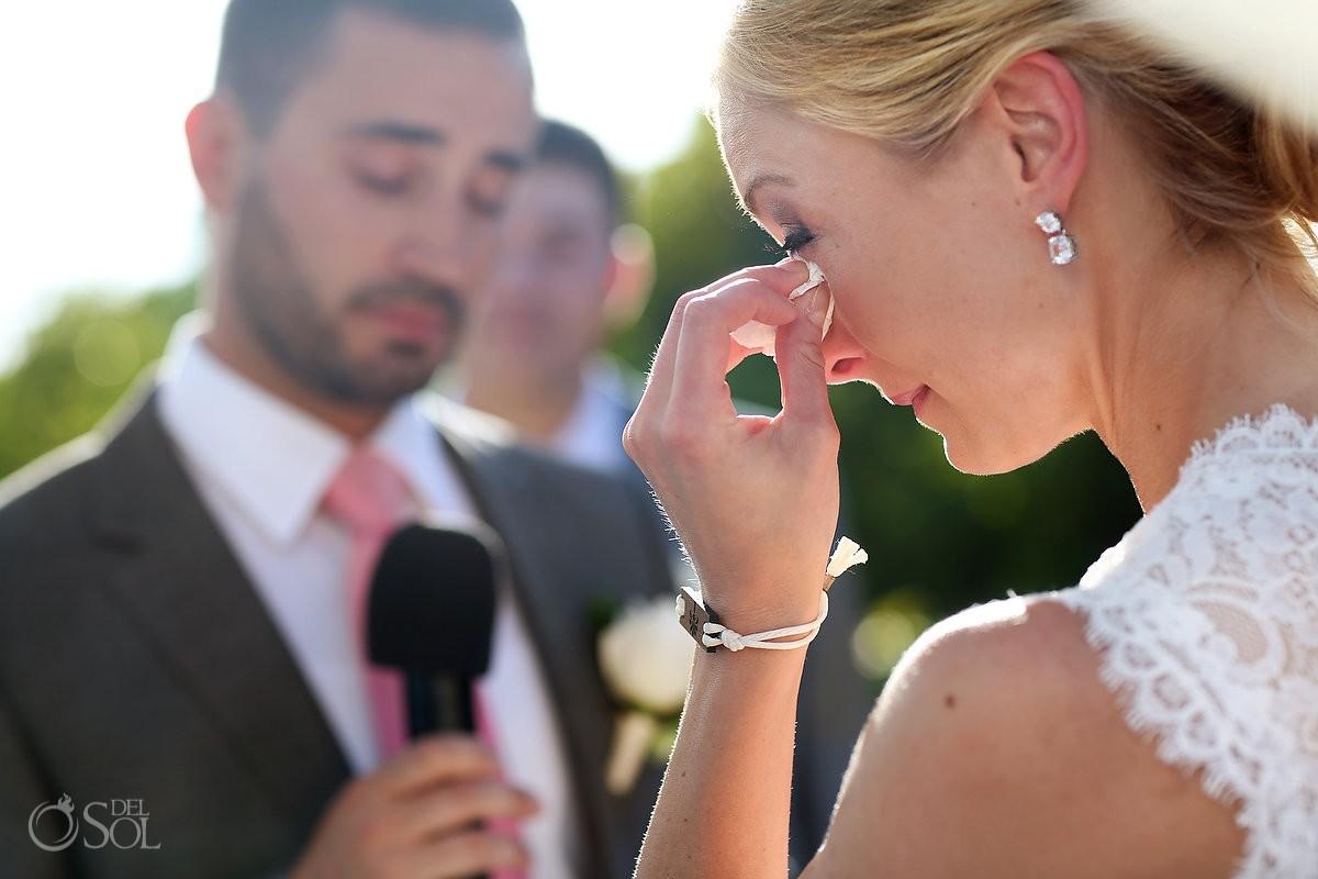 Bride crying Gabi Bridge Destination wedding ceremony Riviera Maya Paradisus Esmeralda Playa del Carmen