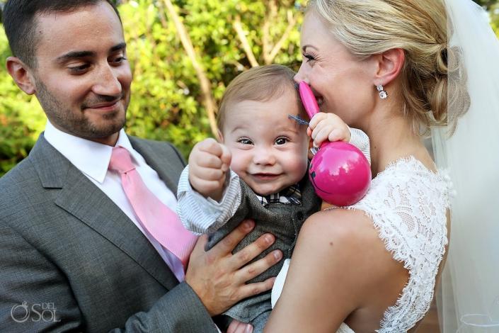 bride goom cute baby holding maracas Riviera Maya Paradisus Esmeralda Playa del Carmen