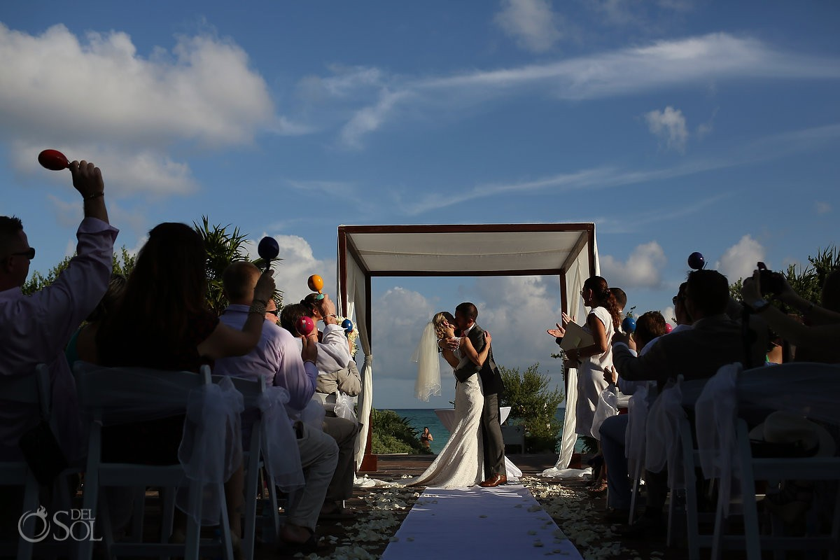 First kiss Gabi Bridge Destination wedding ceremony Riviera Maya Paradisus Playa del Carmen