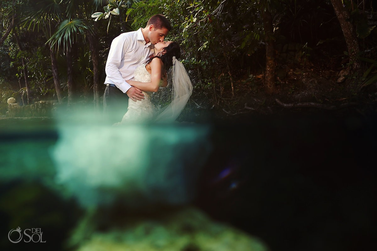 Riviera Maya cenote underwater trash the dress Mexico Del Sol Photography