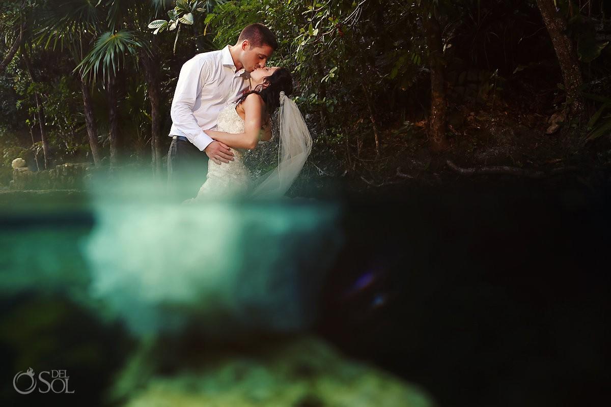 Riviera Maya cenote underwater trash the dress Mexico Del Sol Photography