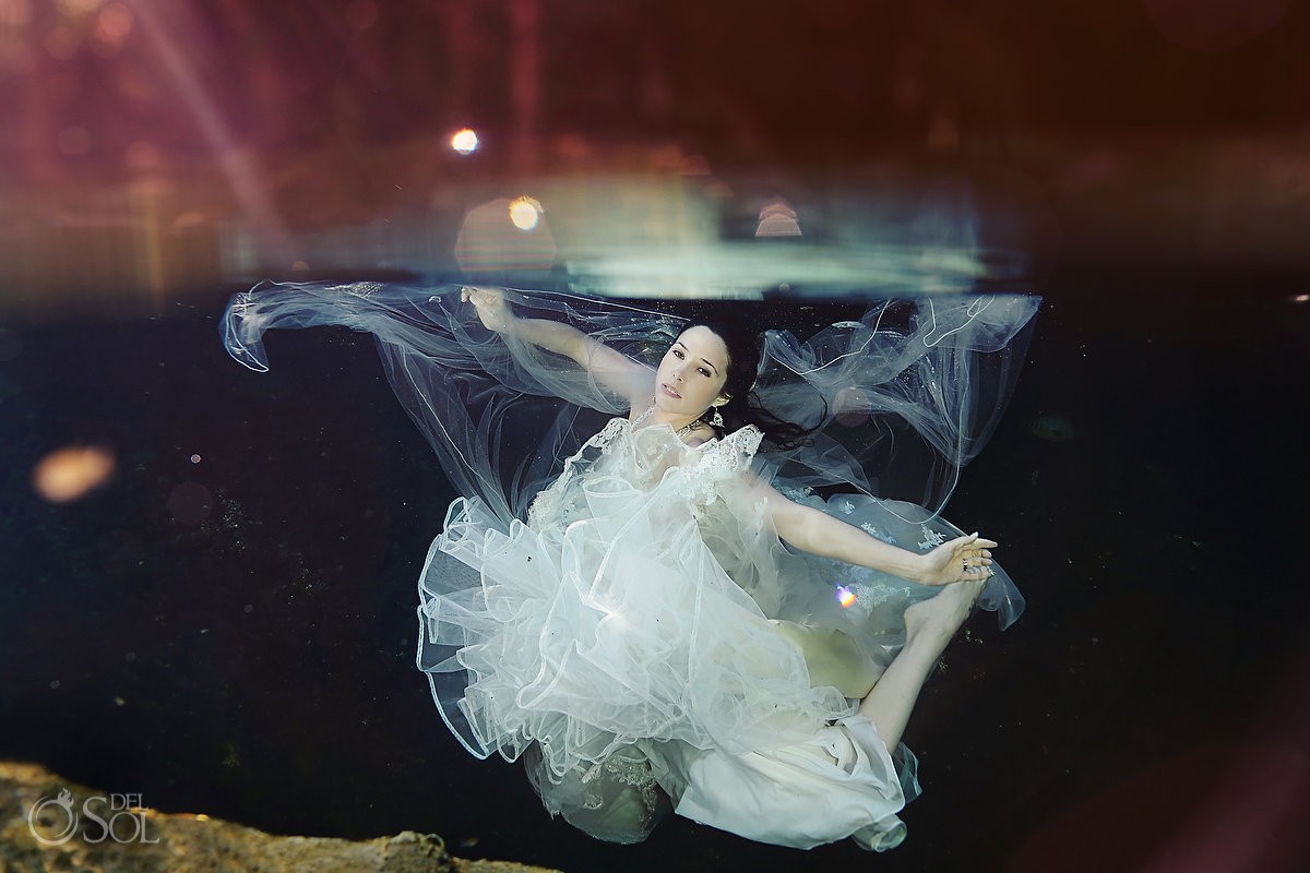 Riviera Maya underwater trash the dress cenote Mexico Del Sol Photography