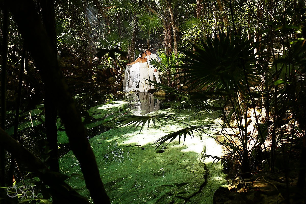 Riviera Maya trash the dress cenote Del Sol Photography