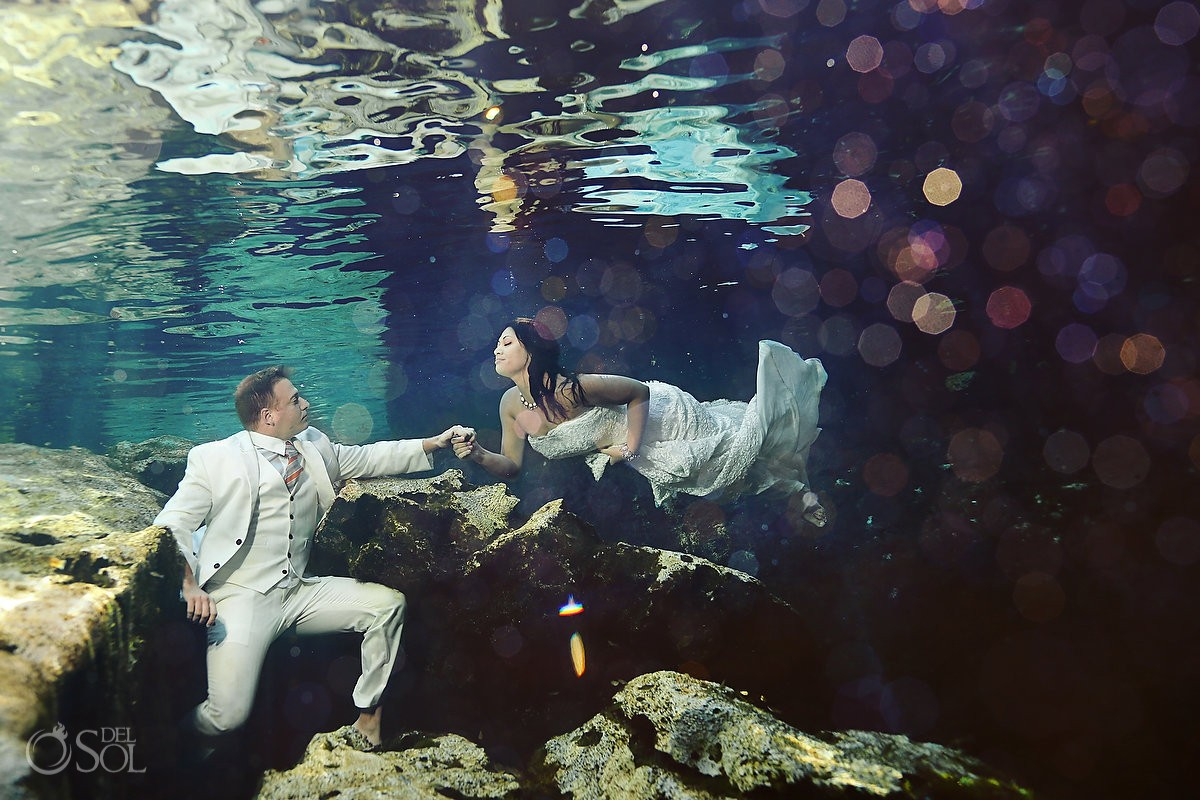 Riviera Maya underwater trash the dress in a cenote Del Sol Photography