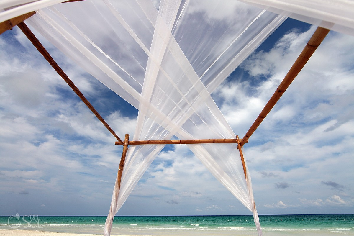destination wedding altar setup on the beach at belmond maroma resort and spa