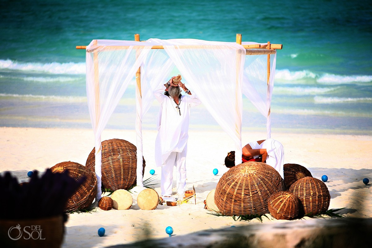 Cosmic beach wedding Ceremony at Belmond Maroma Resort and Spa
