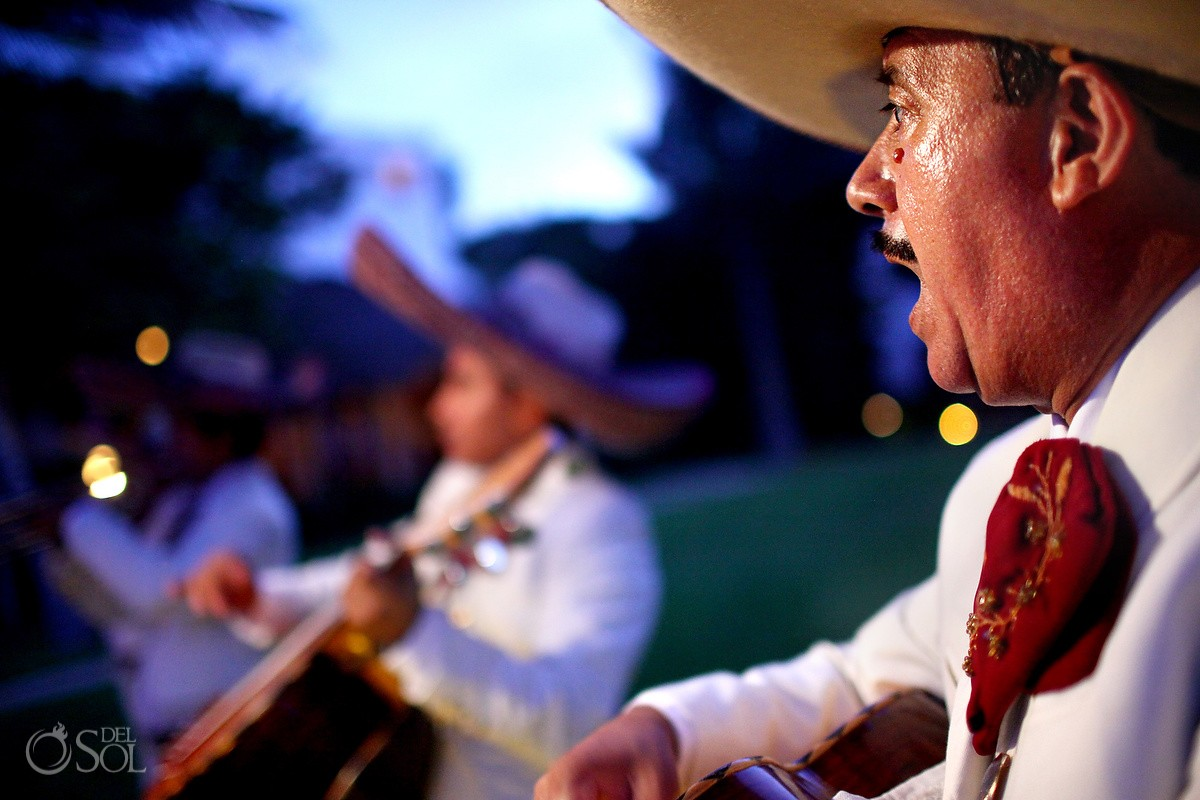 Mariachis sing during a wedding at Belmond Maroma