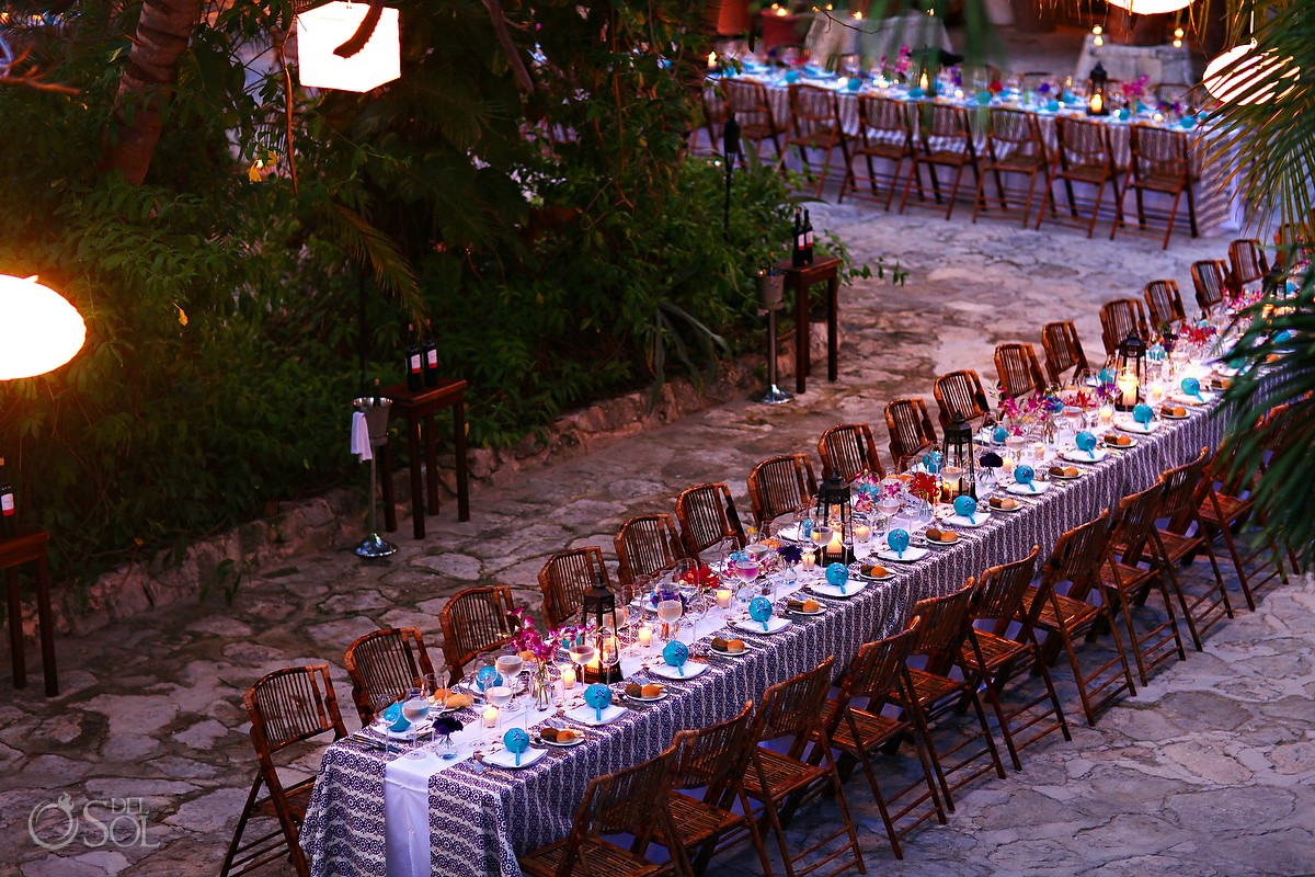 Destination wedding reception table decor at Belmond Maroma Spa and Resort