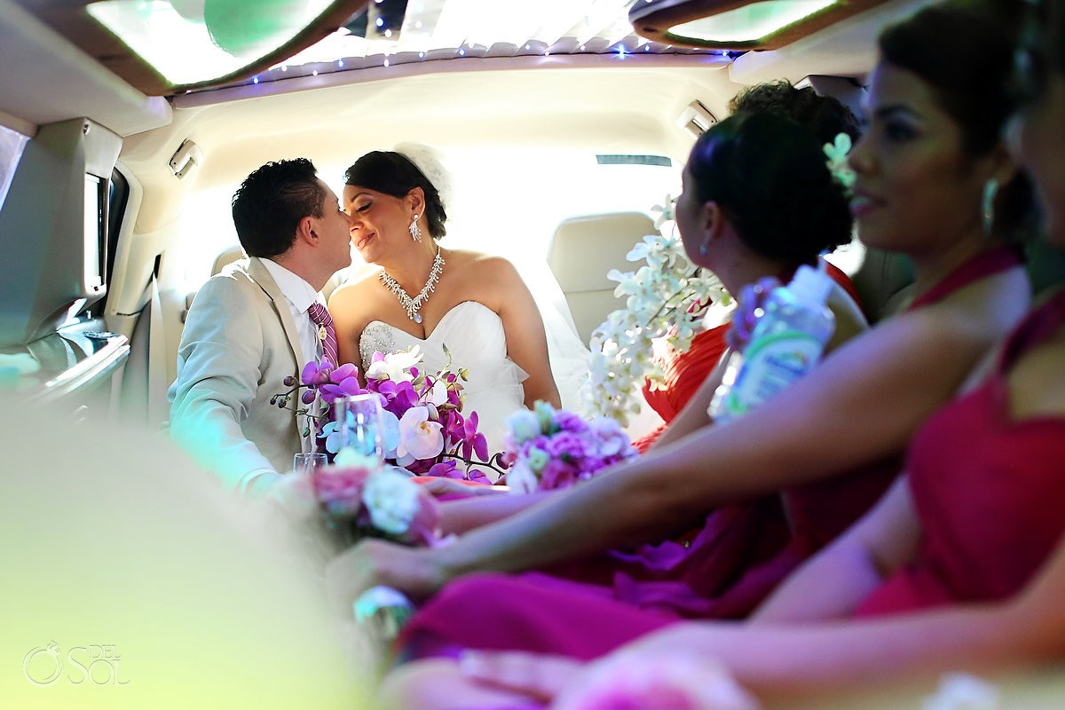 Tulum wedding limo Caleta Tankah Mexico Del Sol Photography