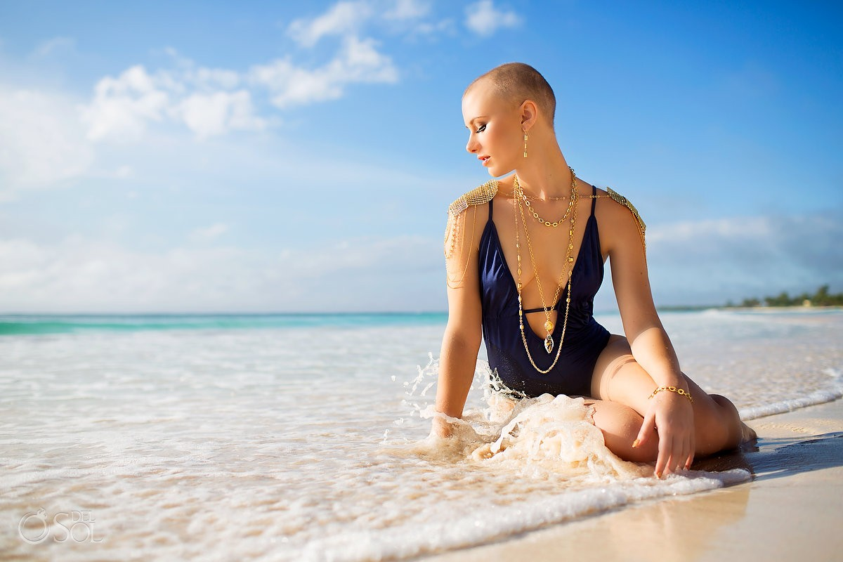 Riviera Maya photography beach commercial model bathing suit jewels Mexico