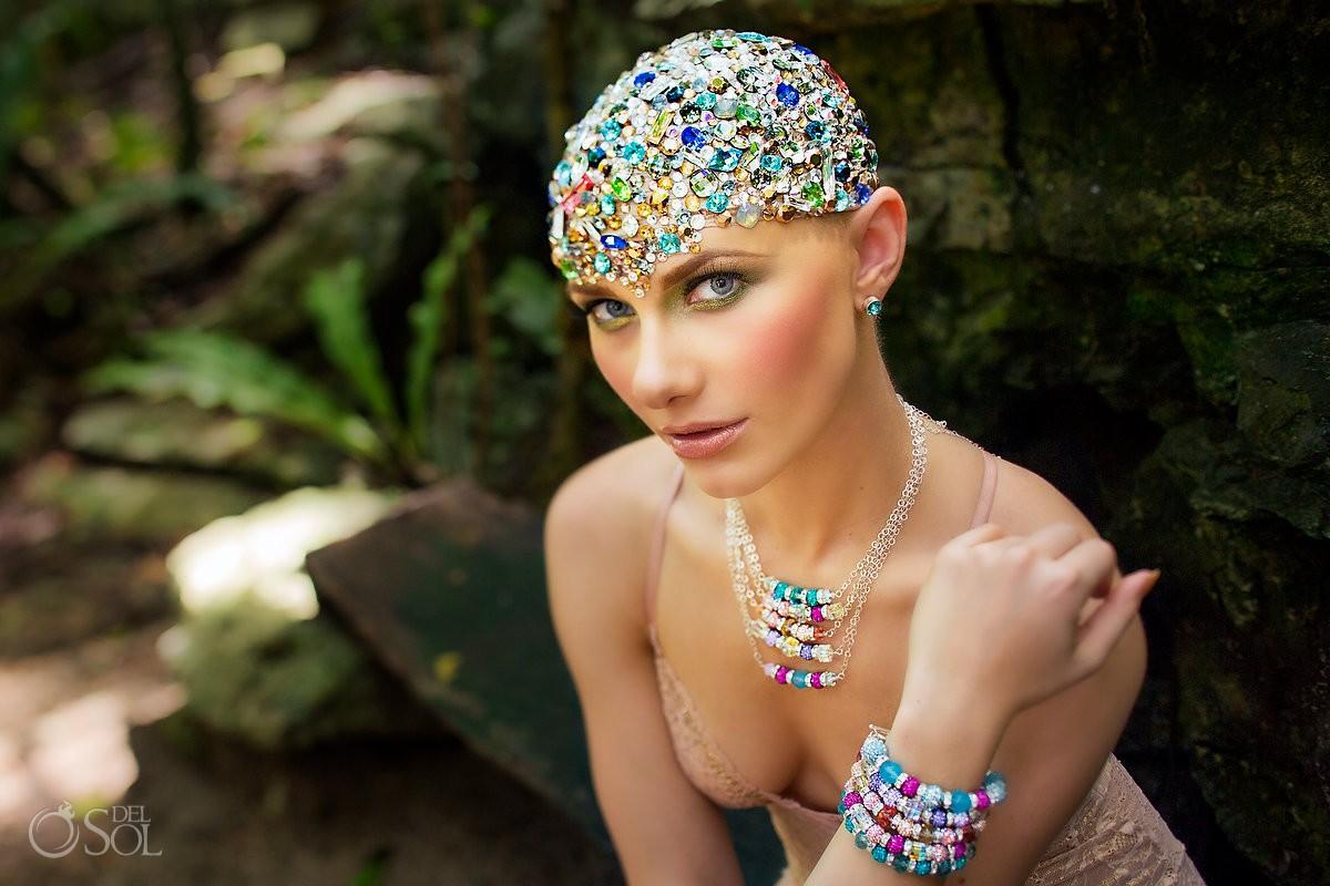 Riviera Maya photography model jewelry Mexico cenote