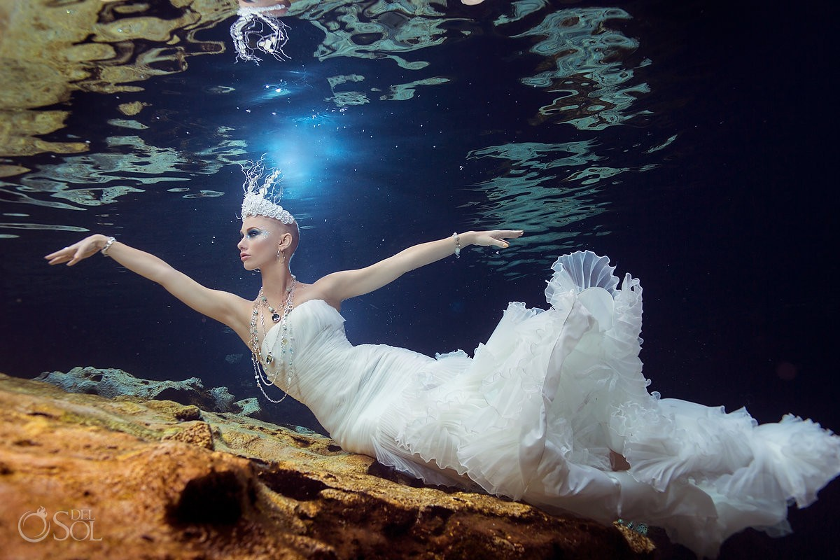 Riviera Maya underwater photography commercial bride jewels Mexico