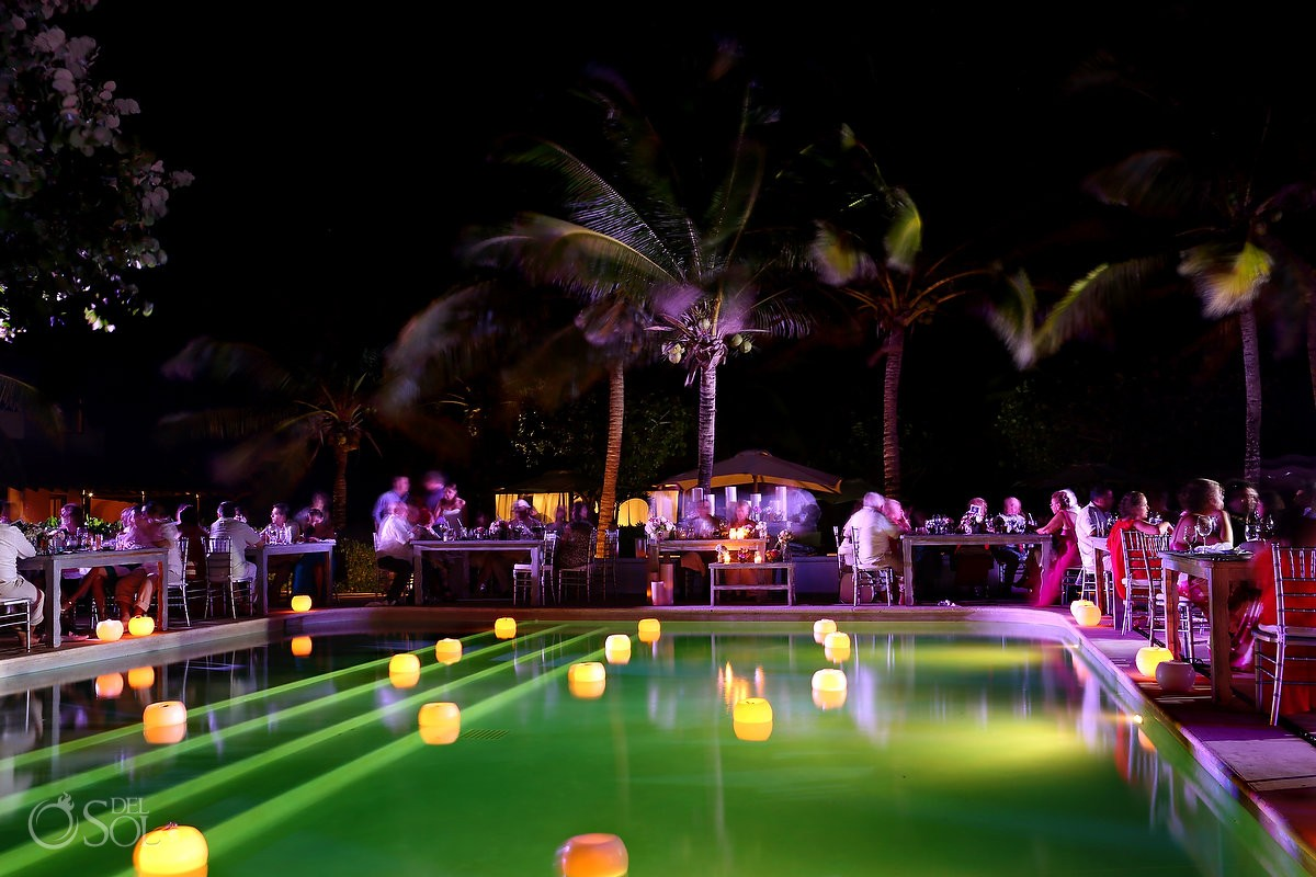 Hotel Esencia weddings pool at night floating candleboutique