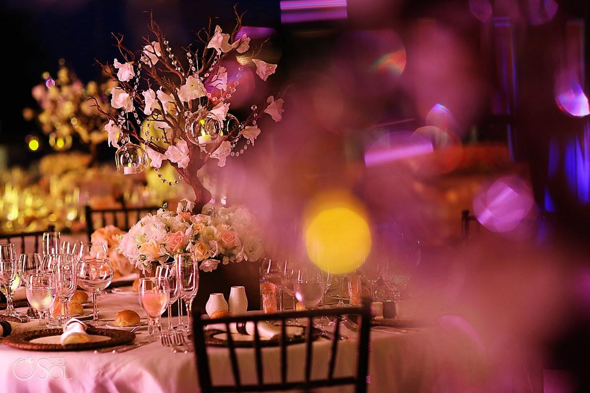 tables decoration for wedding reception at Paradisus La Perla