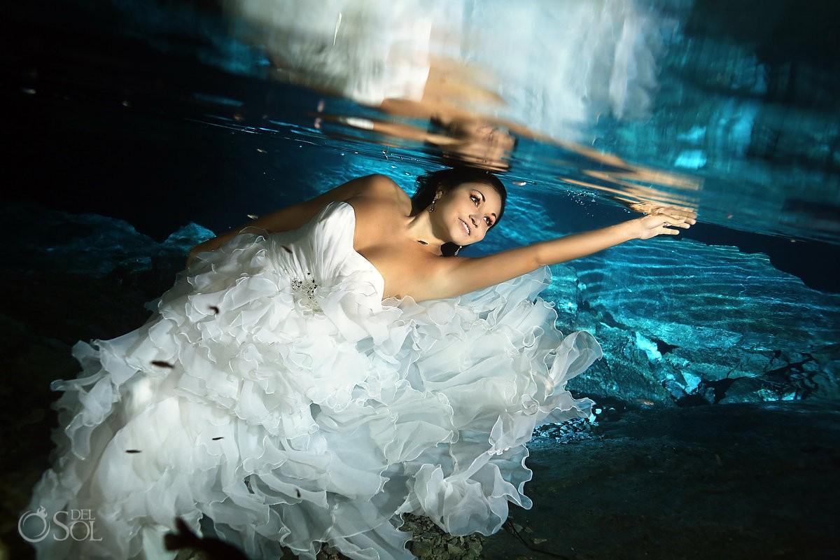 Riviera Maya underwater cenote trash the dress Mexico Del Sol Photography