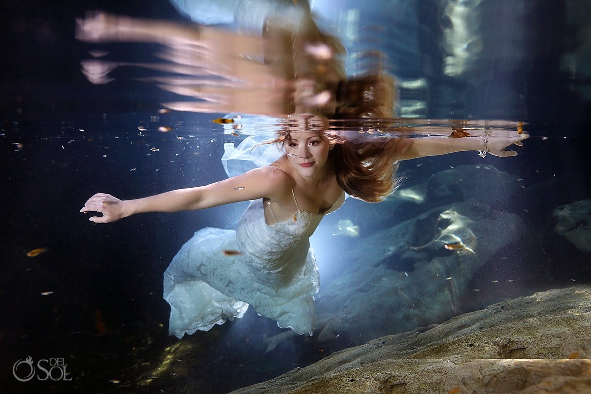 Riviera Maya underwater trash the dress Mexico Del Sol Photography