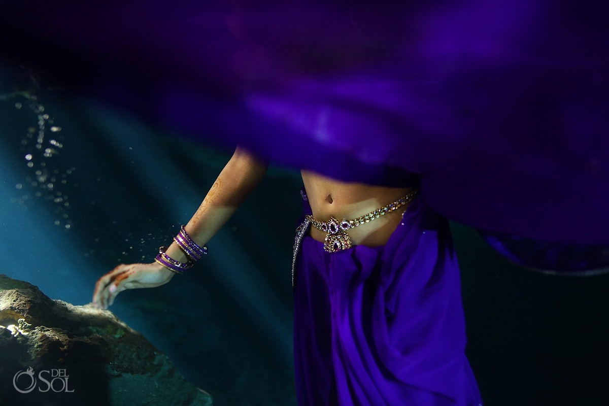 Riviera Maya underwater trash the dress cenote Indian Mexico Del Sol Photography