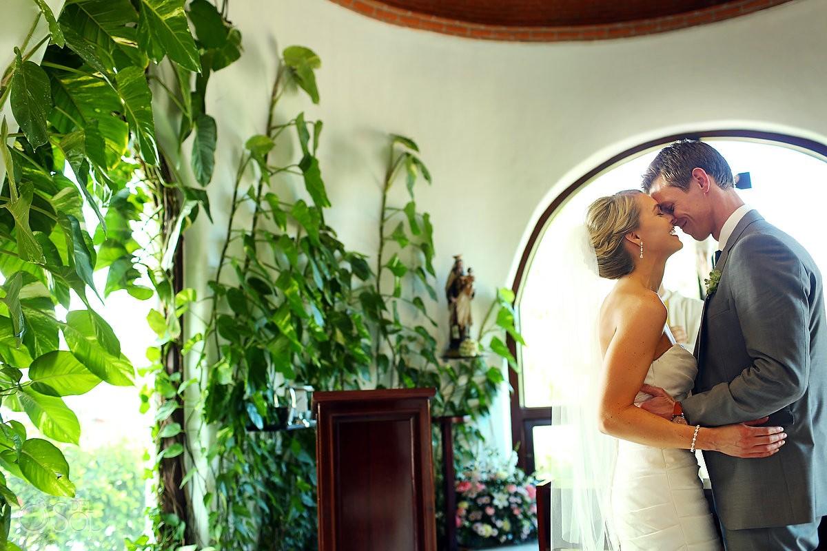 Playa del Carmen Chapel Wedding First Kiss Capilla Nuestra Señora del Carmen