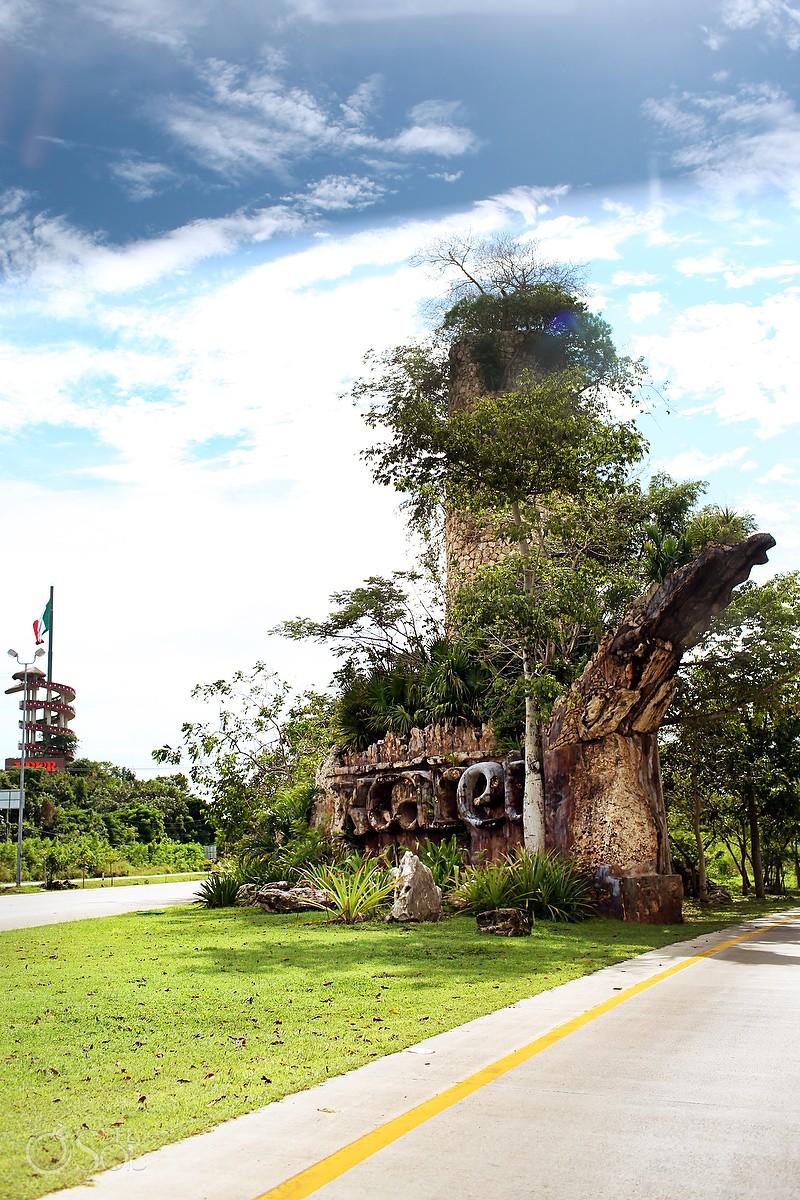 307 Highway entrance sign Xcaret Park Playa del Carmen Mexico