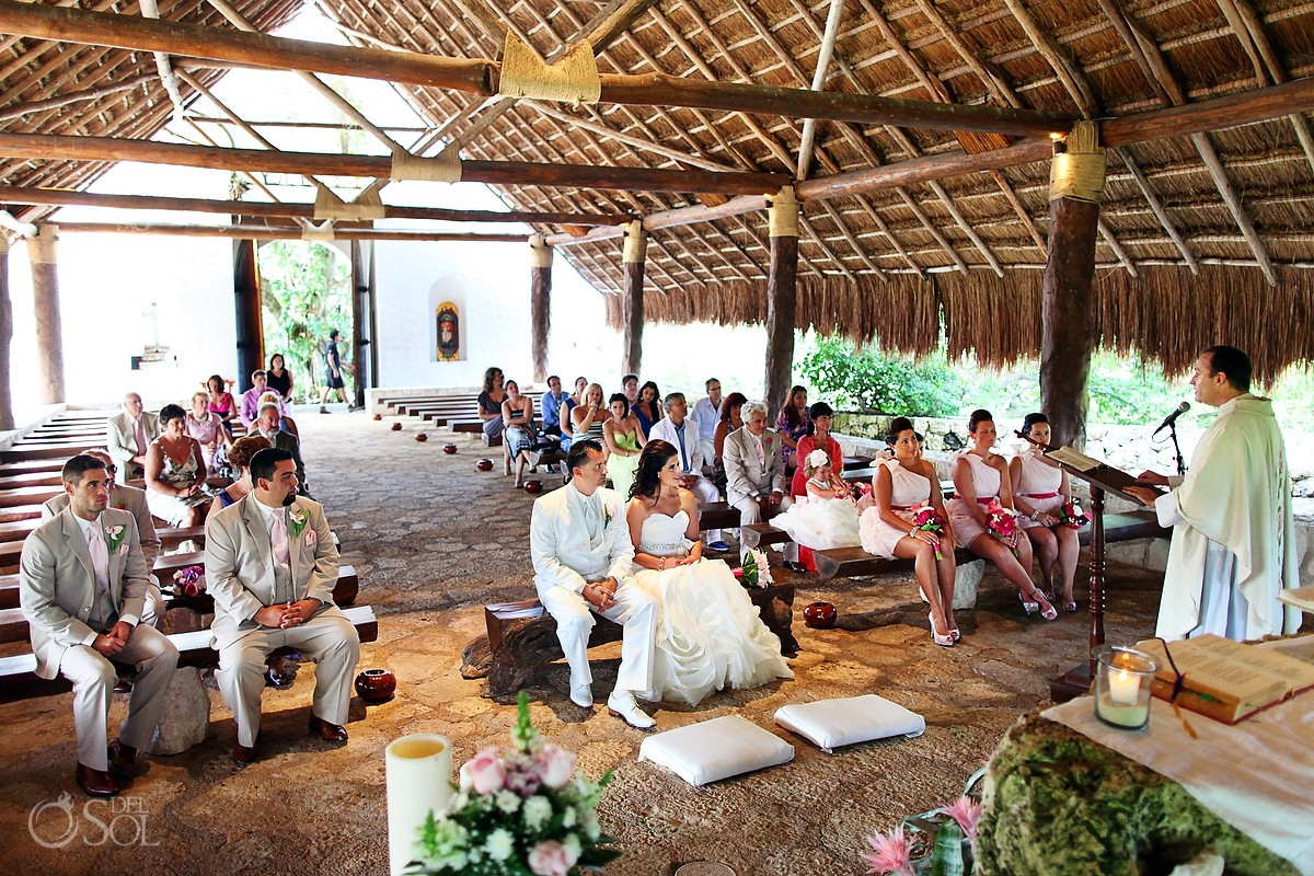 Daytime Catholic wedding ceremony Saint Francis of Assisi Chapel Xcaret theme park, Playa del Carmen, Mexico