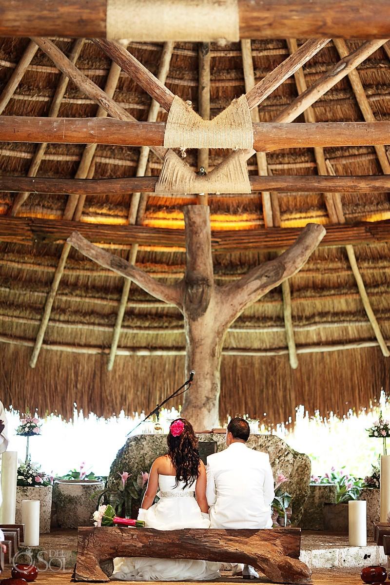 Daytime Catholic wedding ceremony Saint Francis of Assisi Chapel Xcaret theme park