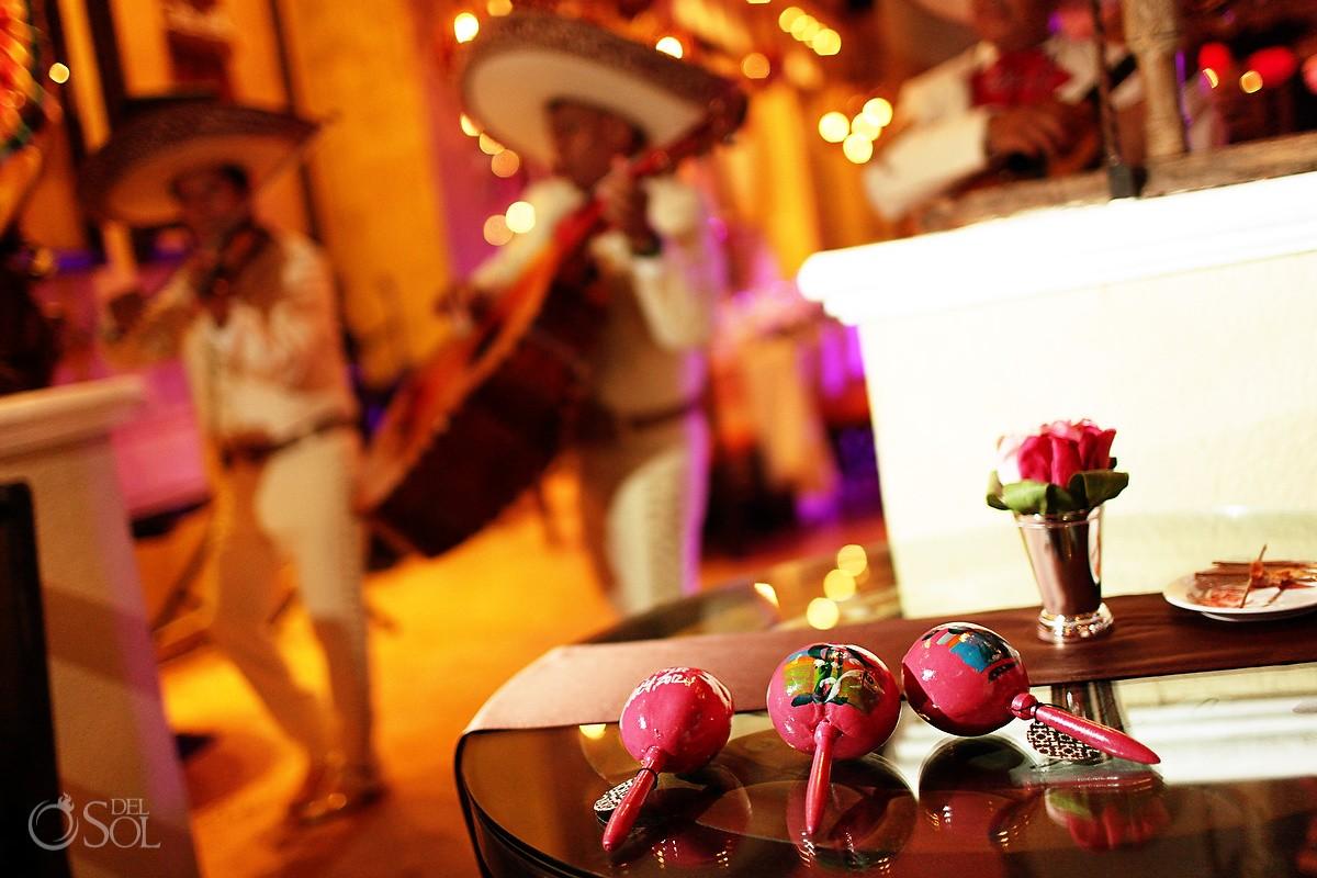 mariachi and maracas Mexican Themed wedding reception at Dreams Riviera Cancun